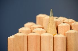 stock photo of pencils  - Macro image of graphite tip of a sharp ordinary wooden pencil as drawing and drafting tool - JPG