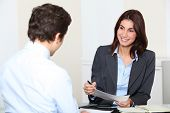 foto of human resource management  - Job applicant having an interview - JPG