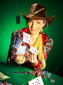 girl with a beard plays poker...