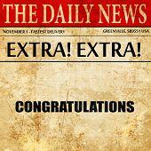 congratulations, newspaper article text poster