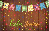 Festa Junina Party Greeting Design. Festa Junina Brazil Festival. Folklore Holiday. Festival Fire. V poster