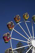 Colorful ferris wheel against blue sky