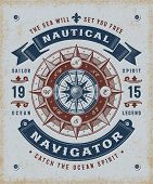 Vintage Nautical Navigator Typography poster