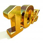 3d render: Gold 10 Percent Off Discount Sign, Sale Banner Template, Special Offer 10% Off Discount T poster
