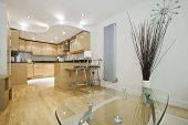 nice wooden finish modern contemporary open plan kitchen