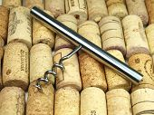 Collection of vine corks and vine screw