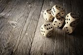 Rolling the dice concept for business risk, chance, good luck or gambling poster