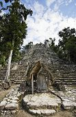 view of the lost in the jungle mayan site of Coba in yucatan mexico