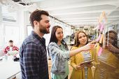 Coworkers looking at sticky notes pointed by female photo editor in meeting room poster
