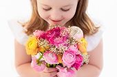 Little Girl With Flower Bouquet poster