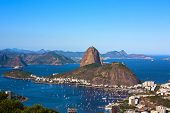 aerial view of botafogo and the sugar loaf in rio de janeiro brazil
