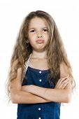 caucasian little girl portrait sulky arms crossed brat attitude isolated studio on white background