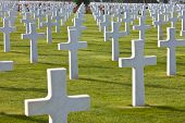 Rows of white crosses at the World War 2 American Cemetery, Colleville-sur-Mer, Omaha Beach, Normand