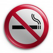 3d rendering of a badge with a no smoking sign
