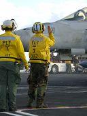 Sailors At Work On Flight Deck