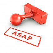3d rendering of a rubber stamp with ASAP in red ink