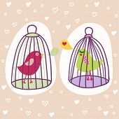 two birds in cages - romantic cartoon illustration in vector