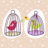dois pássaros em gaiolas - ilustração dos desenhos animados românticos em vetor