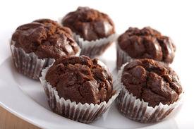 stock photo of chocolate muffin  - chocolate muffins - JPG