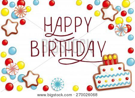 poster of Happy Birthday Text As Birthday Badge/tag/icon. Happy Birthday Card/invitation/banner Template. Birt