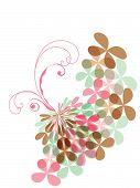 Sweet Pink Pastel Clover Butterfly Swirl (Vector)