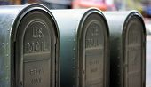 Row Of Outdoors Mailboxes In Ny, Usa poster
