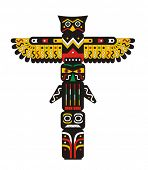 stock photo of indian totem pole  - Totem pole Indian vector - JPG