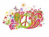 Psychedelic t shirt print with hippie peace symbol, fly agaric, colorful abstract flowers and paisle poster