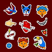 Fashion Patch Badges With Dogs, Bulldog, Fox, Swallow, Tattoo, Puppy And Other. Very Large Girlish S poster