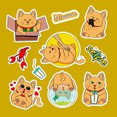 Fashion Patch Badges With Cat, Selfie, Heart, Milk, Cancer, Aquarium And Other. Very Large Set Of Gi poster