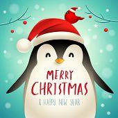 Christmas Cute Little Penguin With Santa's Cap. Christmas Cute Animal Cartoon Character. poster