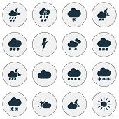 Climate Icons Set With Rain, Crescent, Sunshine And Other Wet Elements. Isolated Vector Illustration poster