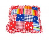 Pillow lovely colorful with patches squares, stripes and hearts