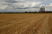 Harvested field and two grain silos on horizon