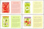 Pickled Peppers, Canned Zucchini And Vegetables, Preserved Green Olives In Rustic Decorated Bottles. poster