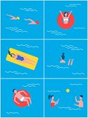 People In Swimming Pool Set. Summer Vacation And Recreation Of Professional Swimmers Wearing Special poster