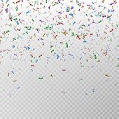 Color Glitter Confetti Vector. Carnaval Paper Tinsel Texture Isolated On Background. Party Colorful  poster