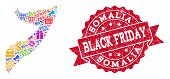 Black Friday Combination Of Mosaic Map Of Somalia And Scratched Stamp Seal. Vector Red Seal With Scr poster