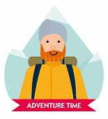 Let The Adventure Begin. Happy Mountaineer In Anticipation Of Adventure. Design Element For Poster,  poster