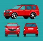 Red Car Two Angle Set. Car Side View, Back View And Front View. Vector Flat Illustration poster