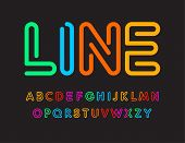 Set Of Colorful Letters. Font From Color Line. Art Alphabet. Simple Maze Typeset. Vector Type On Bla poster