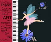 Musical Banner. Abstract Text On Red Background, Piano Keyboards And Little Winged Fairy-ballerina I poster