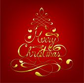 Elegant Merry Christmas Calligraphic Background