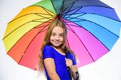Feeling Protected At This Autumn Day. Happy Childhood. School Time. Happy Little Girl With Umbrella. poster