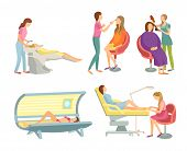 Spa Salon Hair Wash And Hairstyling Set Isolated Icons Set Vector. Body Wrap And Tanning, Gaining Of poster