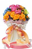 closeup of isolated beautiful and colorful flower bouquet