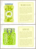 Canned Olives And Peas In Jars Banners Set. Conserved Piquant Vegetables Inside Glass Containers Bes poster