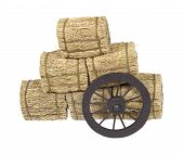 stock photo of stagecoach  - Wooden western stagecoach style wheel leaning on bales of hay  - JPG
