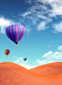 Landscape with a colorful balloon dry