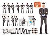 Male Business Character Vector Set. Cartoon Character Creation Of Business Man Standing And Talking  poster